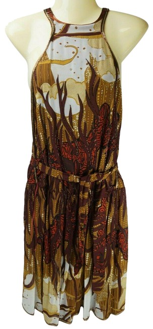 Item - Brown Pearl Printed Beaded Sleeveless Silk Women's Long Night Out Dress Size 4 (S)