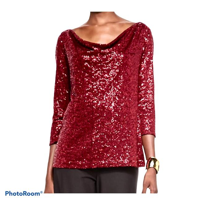 Item - Sequined Silk Drapey Wine Red Top