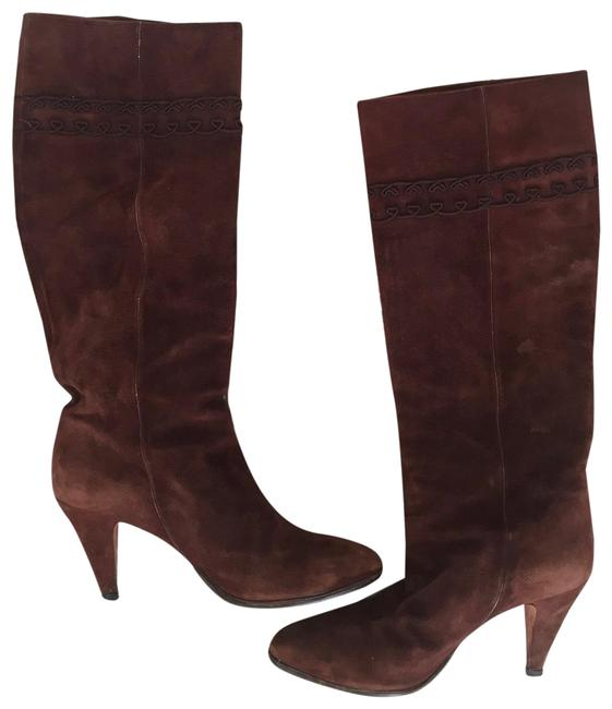 Item - Brown Vintage Gg Embroidered Monogram Logo Suede Leather Boho Moto Knee High Riding 36.5 Boots/Booties Size US 6 Regular (M, B)