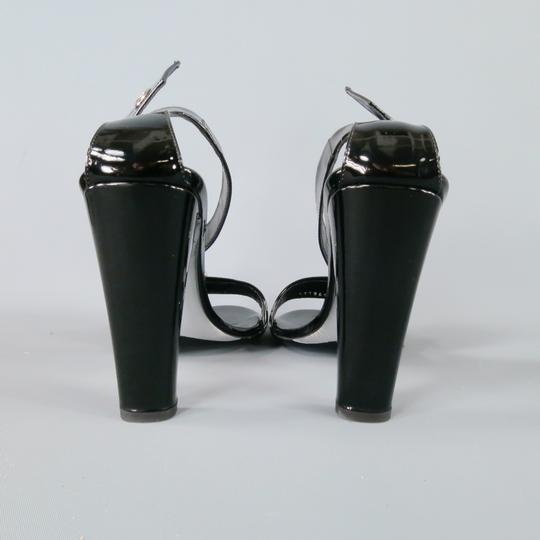 Gucci Belt Buckle Ankle Strap Thick Sexy Black Sandals
