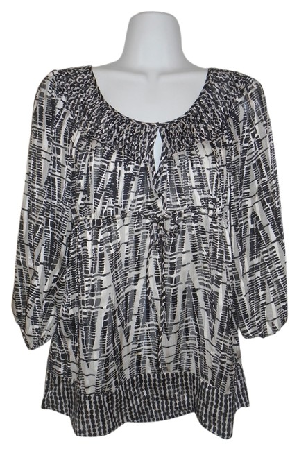 Item - Black White Gray Silk Blouse Bcbg Amazing Xxs Tunic Size 00 (XXS)