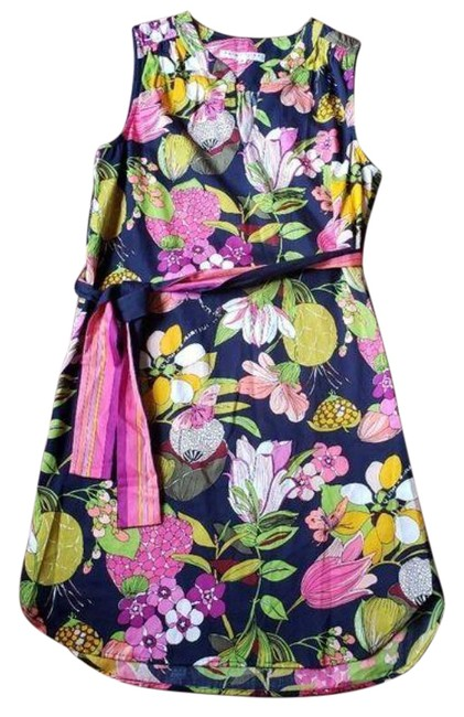 Item - Blue Pink Belted Cotton Tropical Floral Sleeveless Short Casual Dress Size 8 (M)