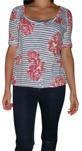 Rue 21 Blous Top White with navy striped and red roses.