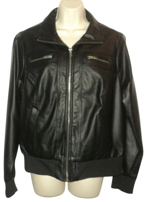 Item - Black Faux Leather Front Zip Polyester Lining Jacket Size 14 (L)