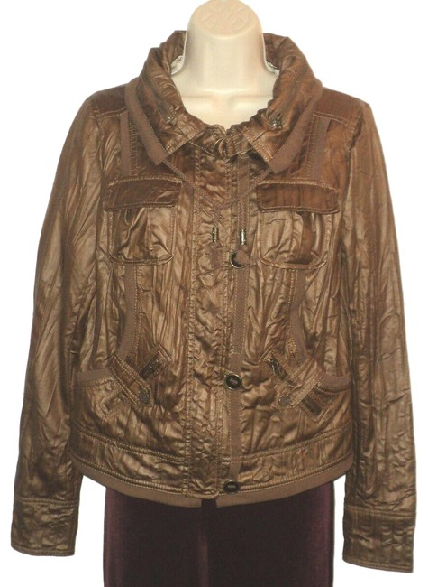 Item - Brown Faux Leather Look Crinkled Zippered & Buttoned Lined Jacket Size 14 (L)