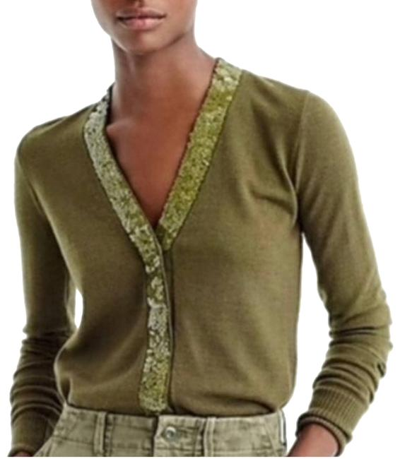 Item - Harlow Cardigan Sequin Placket Green Sweater