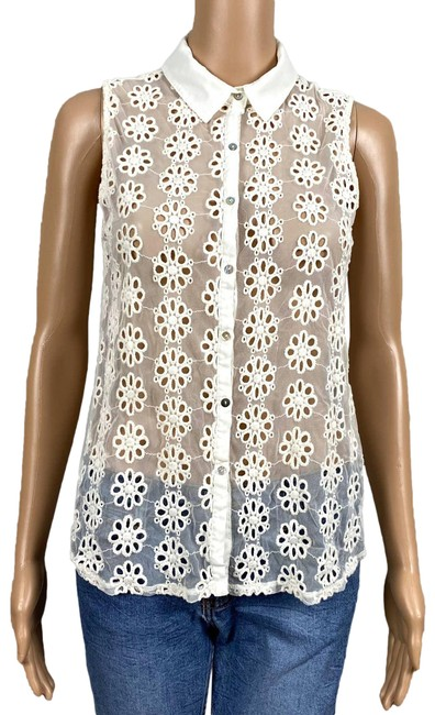 Item - Cream Collection Sheer Ivory Floral Eyelet Mesh Chiffon Button Up Shirt Button-down Top Size 8 (M)