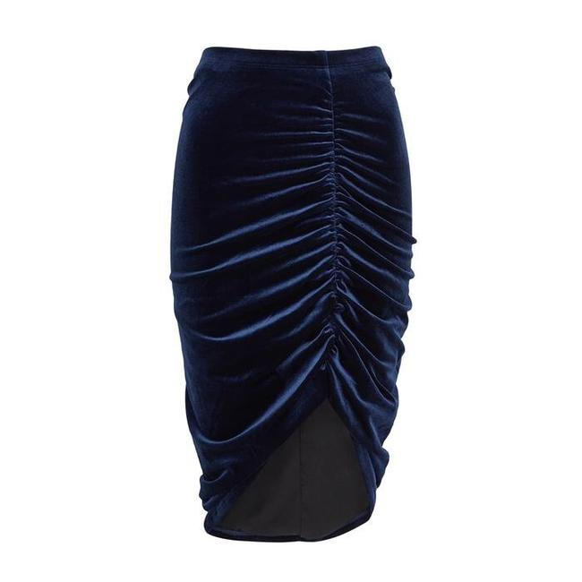 Item - Blue Ruched Velvet Skirt Size 4 (S, 27)