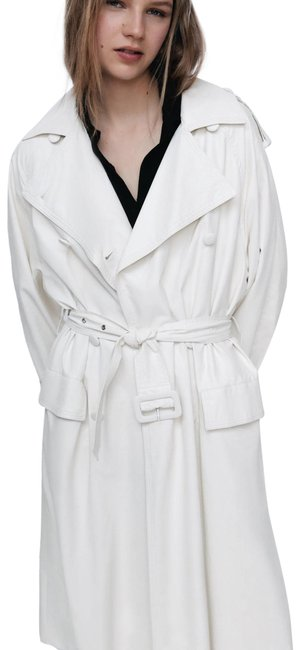 Item - White Faux Leather Water Repellent M New Coat Size 8 (M)
