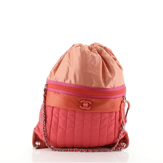 Item - Coco Neige Convertible Vertical Quilted Large Multicolor Pink Red Nylon Backpack