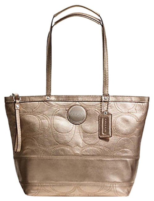 Item - Bag Rare Gold Sis Stitched Antique Gold-silver Genuine Leather Tote