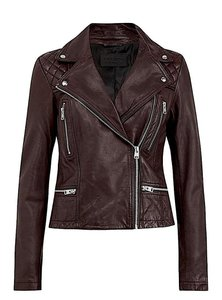 Item - Dark Brown with Tag Cargo Leather Biker Jacket