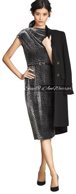 Item - Sage Black Collection Leopard Print Velvet Mid-length Cocktail Dress Size 4 (S)