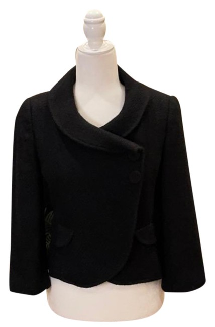 Item - Black W Wool Collared W/Button Accents Coat Size 2 (XS)