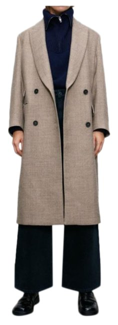 Item - Tan Cream Masculine Double Breasted Wool M Coat Size 4 (S)