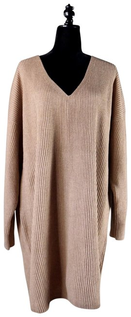 Item - Beige Brown L V-neck Relaxed Ribbed Sweater New Short Casual Dress Size 12 (L)
