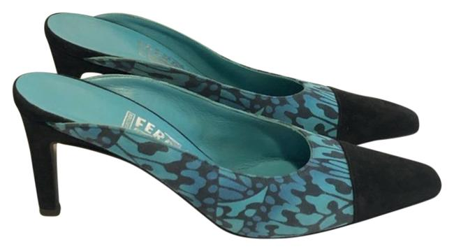 Item - Blue Black Suede Closed Toe Turquoise And Mules/Slides Size US 6.5 Regular (M, B)