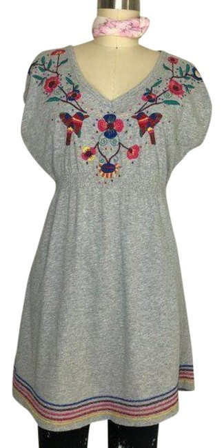 Item - Gray Red Peasant Embroidered Smocked Front Short Casual Dress Size 4 (S)