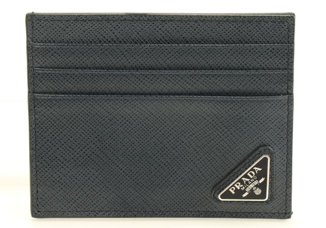 Item - Navy Blue Saffiano Leather Card Holder Men's Jewelry/Accessory