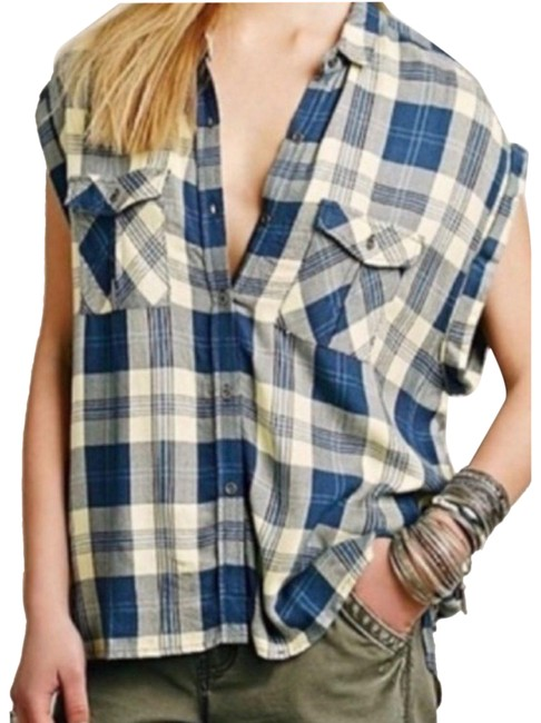 Item - Blue Yellow Brit Plaid Oversized Drapey Button Up Collared Patch Front Button-down Top Size 8 (M)