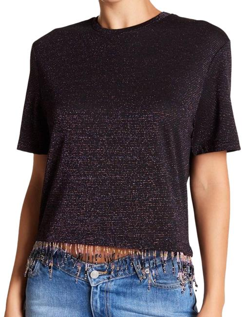 Item - XS Beaded Boxy Shimmer Tee Fringe Small Black Top