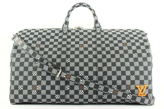 Item - Duffle Keepall Distorted Damier Bandouliere 50 125lvs23 Black Coated Canvas Weekend/Travel Bag