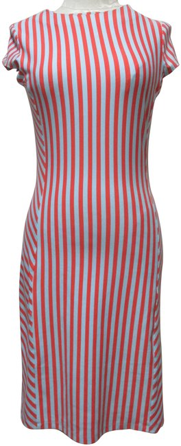 Item - Orange Blue Catalina Sheath Knit Body-con Striped Small Sm Mid-length Casual Maxi Dress Size 6 (S)