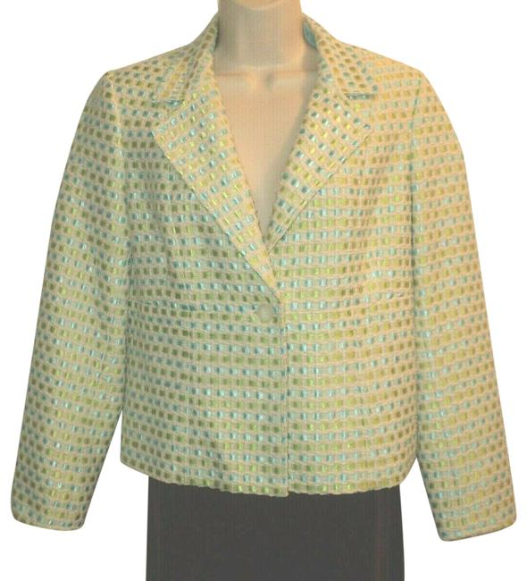 Item - Tan Aqua Lime Green W Front Buttoned W/ & Woven Ribbons Notched Collar Blazer Size Petite 8 (M)