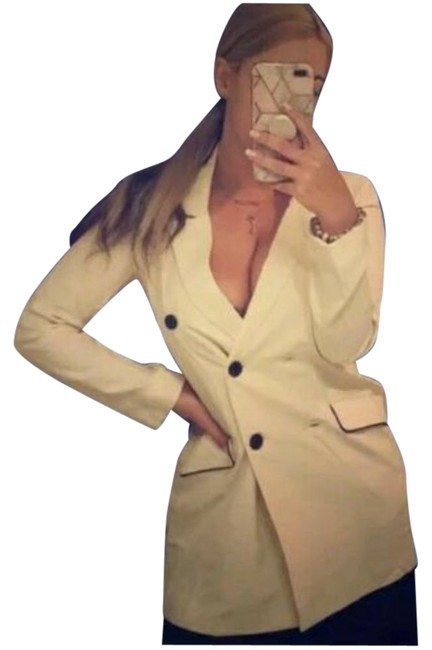 Item - Cream New Double Breasted Blazer 7455/301 Jacket Size 12 (L)