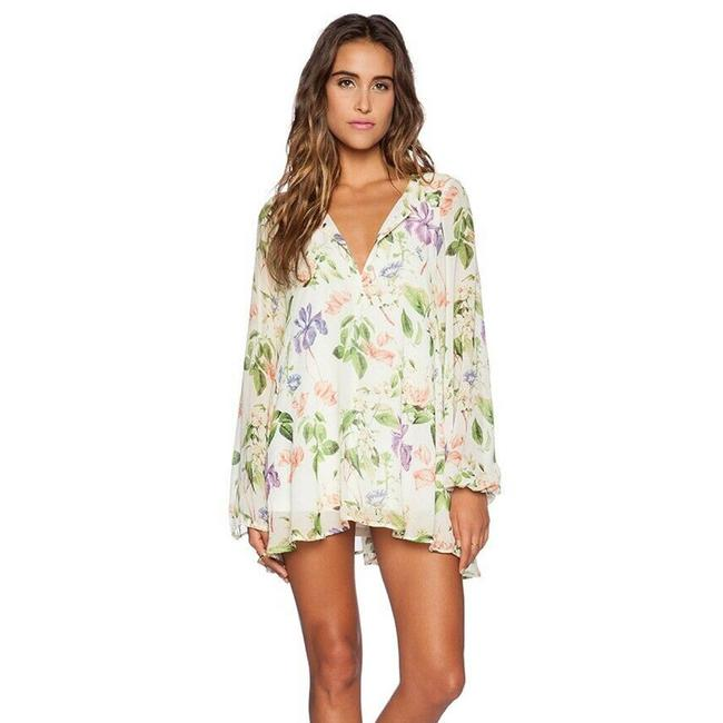 Item - Green Jamie Tunic Floral Top Long Sleeve Short Casual Dress Size 4 (S)