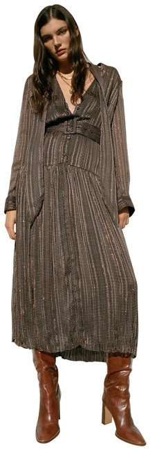 Item - Black Belted Printed Long Casual Maxi Dress Size 0 (XS)