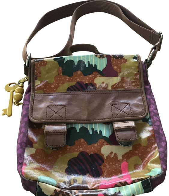 Item - Key-per Purples Teal and Browns Coated Canvas Messenger Bag