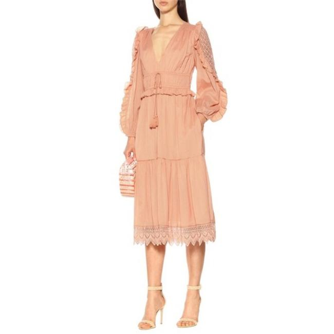 Item - Pink Sheila Ruffle Lace Long Sleeve In Coral Mid-length Casual Maxi Dress Size 0 (XS)