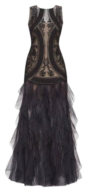 Item - Black V-black Lace & Tulle Gown Retail Long Formal Dress Size 2 (XS)