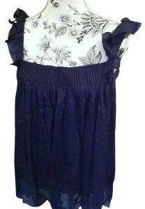 bebe 100% Silk Ruffled Pleated Top Indigo