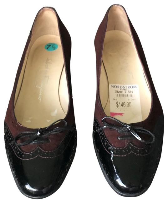 Item - Burgundy and Black Flats Size US 7.5 Narrow (Aa, N)