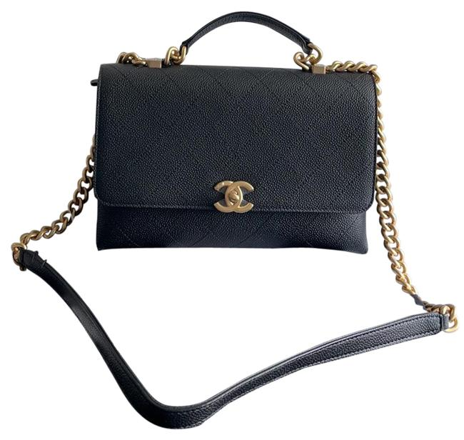 Item - Chic Affinity Small Black Antique Gold Hardware Leather Cross Body Bag