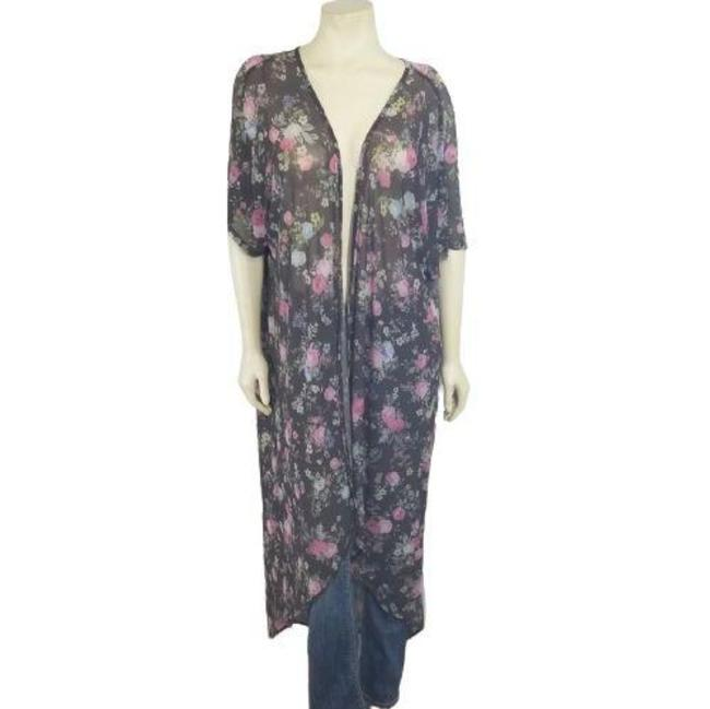 Item - Black Semi-sheer Floral Print Knit Open Cardigan Duster Jacket Size 22 (Plus 2x)