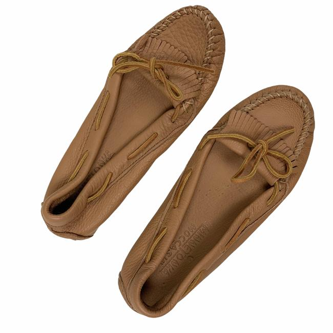 Item - Brown Leather Moccasins Loafers Camel Tan Women Flats Size US 8 Regular (M, B)