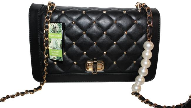 Item - With Square Studs and Pearl Black Gold White Lambskin Leather Cross Body Bag