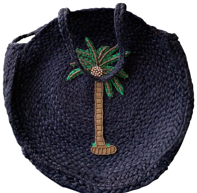 Item - Palm Tree Black Green Brown Straw Beach Bag