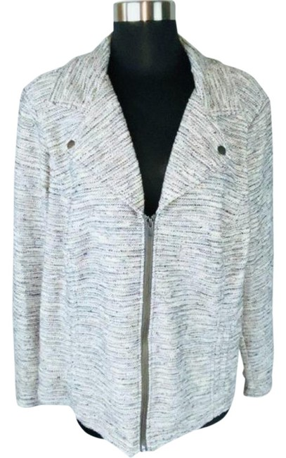Item - Gray Pink Multicolored Tweed Zippered Jacket with Pockets Blazer Size 20 (Plus 1x)