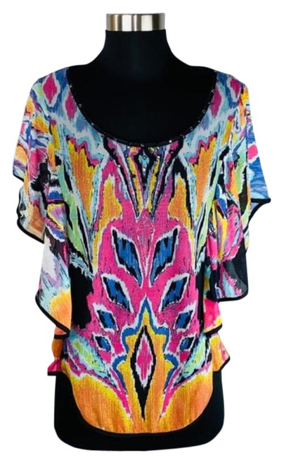 Item - Pink Green Abstract Print Embellished Blouse Size 8 (M)