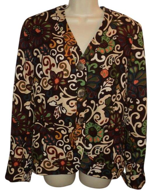Item - Brown Cream Green Rust Floral Design Snap Closure Under Buttons No Collar Lined Blazer Size 8 (M)