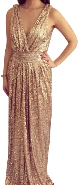 Item - Rose Gold Sequined Maxi In Blush Beaded Sparkle Party Long Formal Dress Size 6 (S)