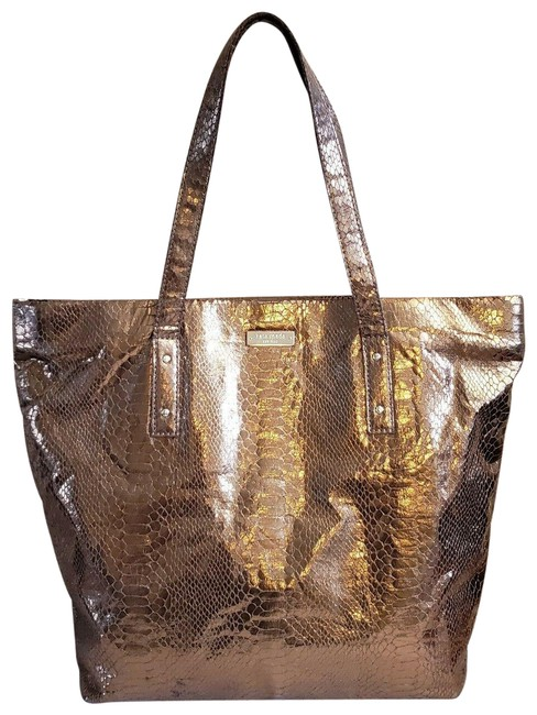Item - Snakeskin Embossed Gold Leather Tote