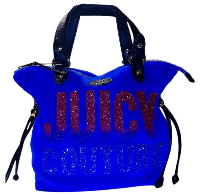 Item - Glitter Mini Tote Electric Blue/Black/Pink Velour/Faux Leather/Sv Satchel