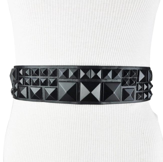 Item - Black Bcbg Wide Studded Faux Leather Size Extra Small Belt