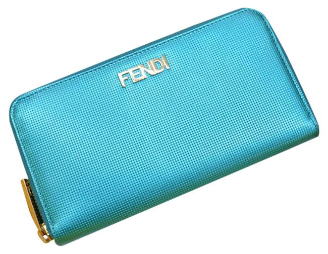 Item - Blue / Gold Long Leather Round Zipper Ladies 2513.8 M0024 / Evn.118 Wallet