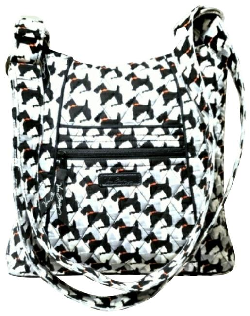 Item - Scottie Dog Hipster Crossbo Black White Grey Red Quilted Fabric Cross Body Bag